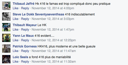 French people expressing their preference of the HK over the FAMAS