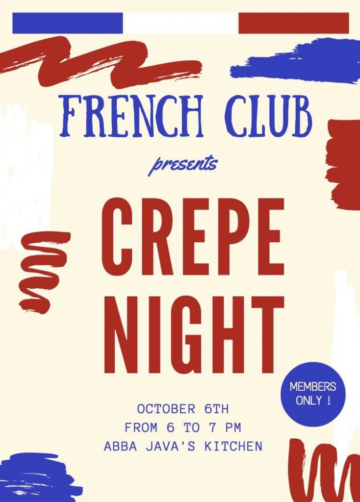 French Club Flyer for Crêpe night!